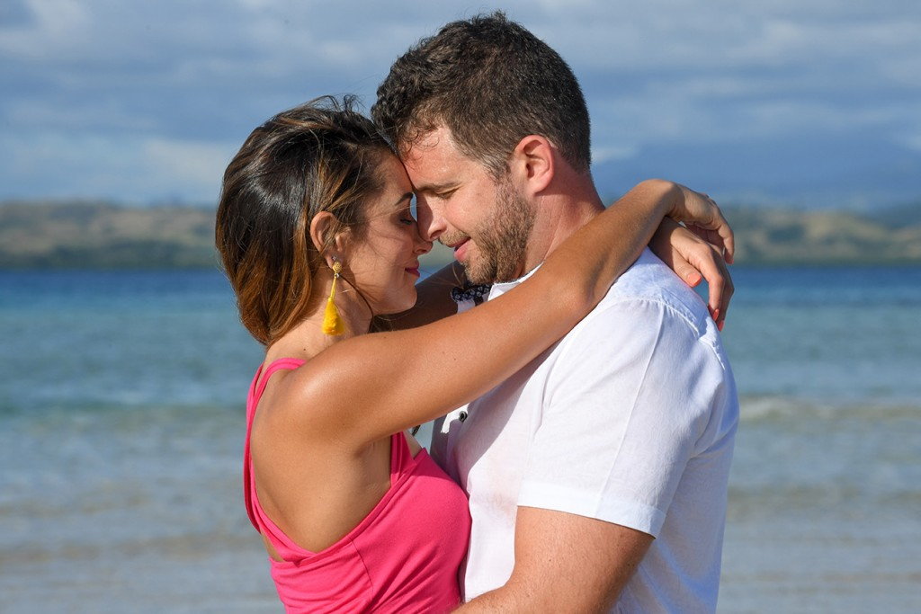 An intimate hug of the couple is captured at Nadi Fiji