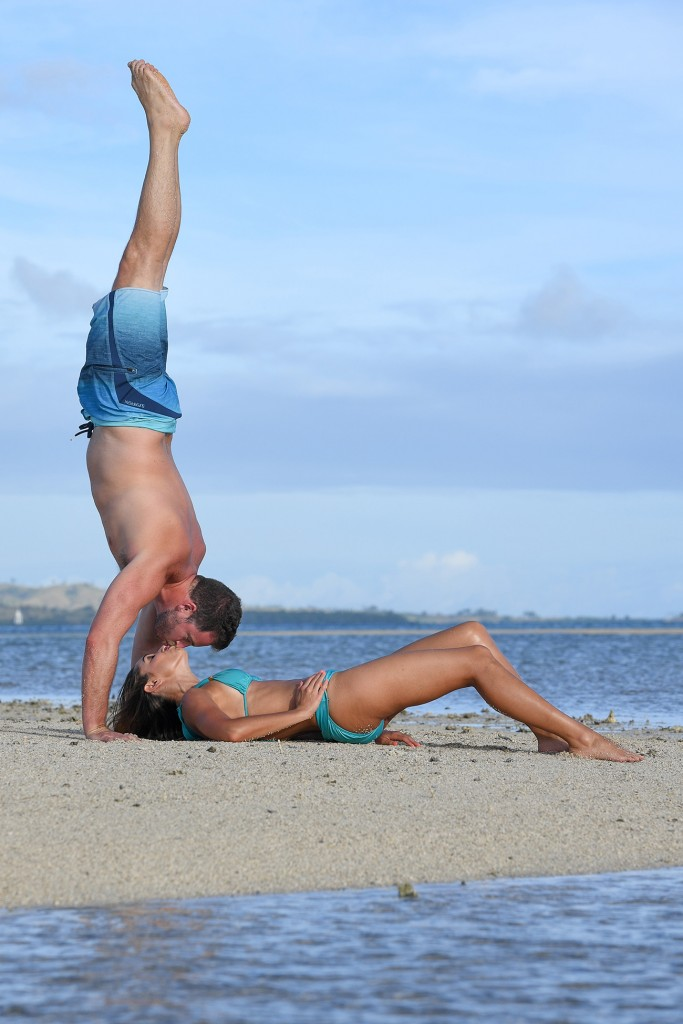 A perfect handstand kiss on the beaches of Nadi Fiji