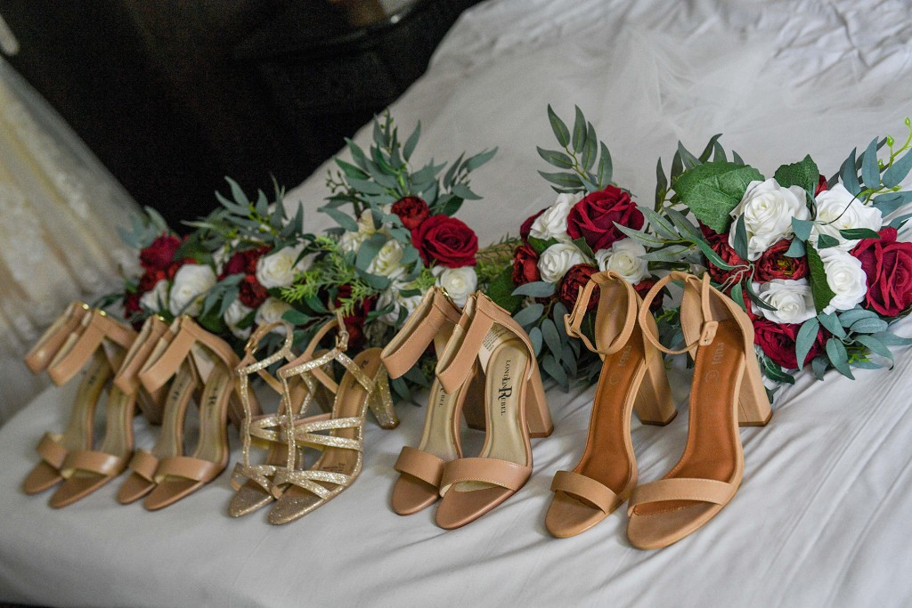 Beige ankle strap high heels of the bridal party