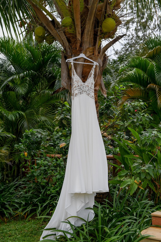 The Lilian West wedding gown is draped against coconuts on a Fiji palm