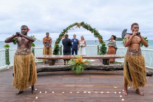 The Fiji beach wedding ceremony overlooking the Pacific ocean at Tropica Island Resort