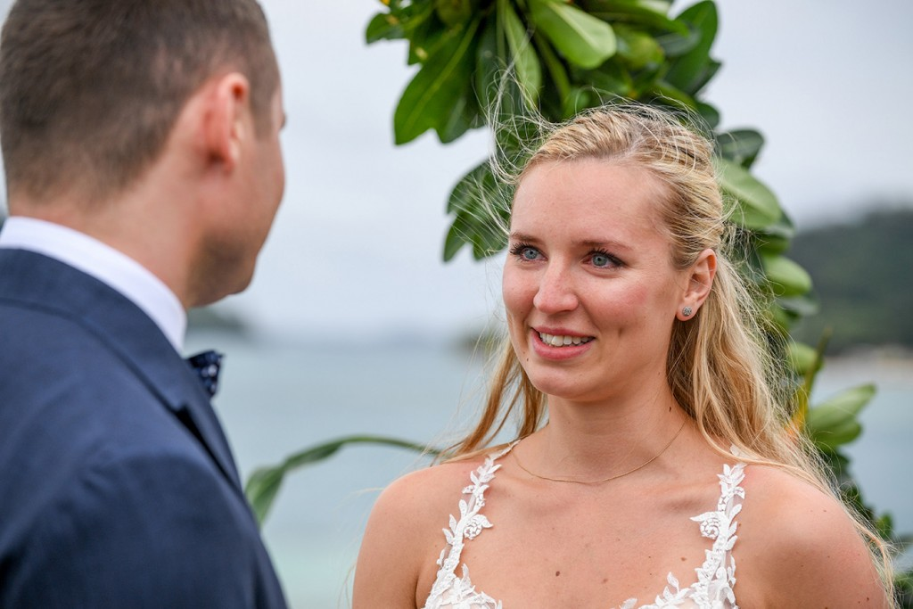 A tearful bride says her vows