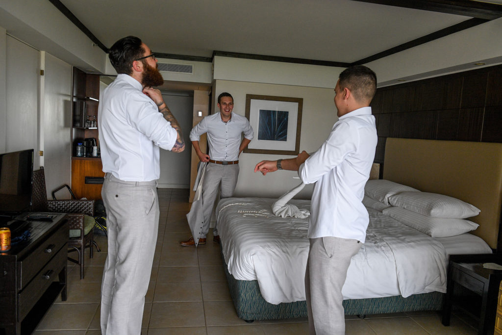 The groom and his groomsmen get ready for the wedding at Shangri La Fiji