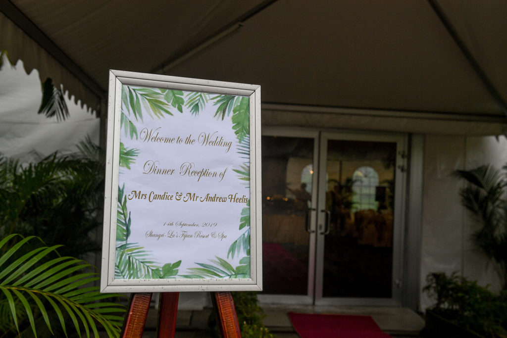 The wedding reception placard for the newly weds