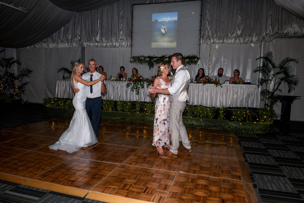The newly weds share first dances with their parents