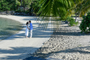 A shot through palm fronds of the groom kissing his bride on the forehead