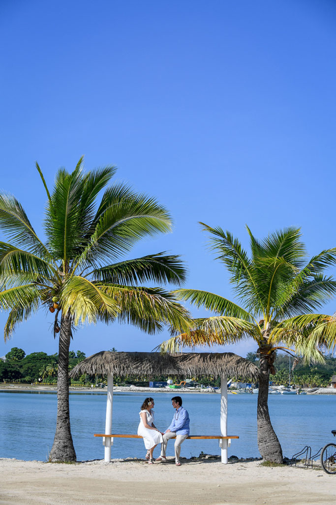 The loving couple framed by towering Fiji palms