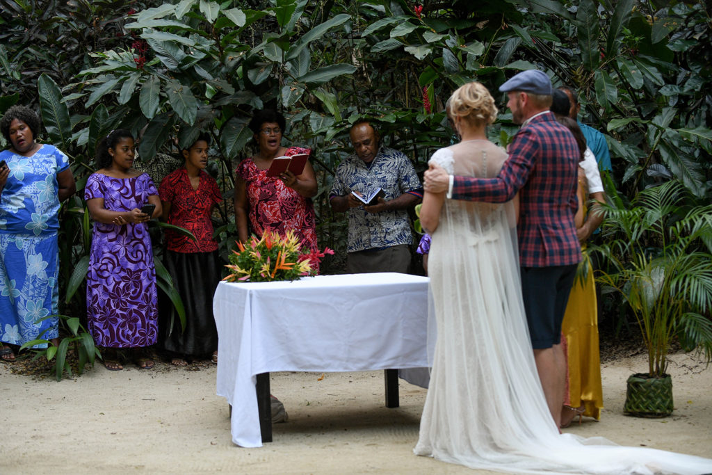 A Fiji choir sings to the couple after being officially married