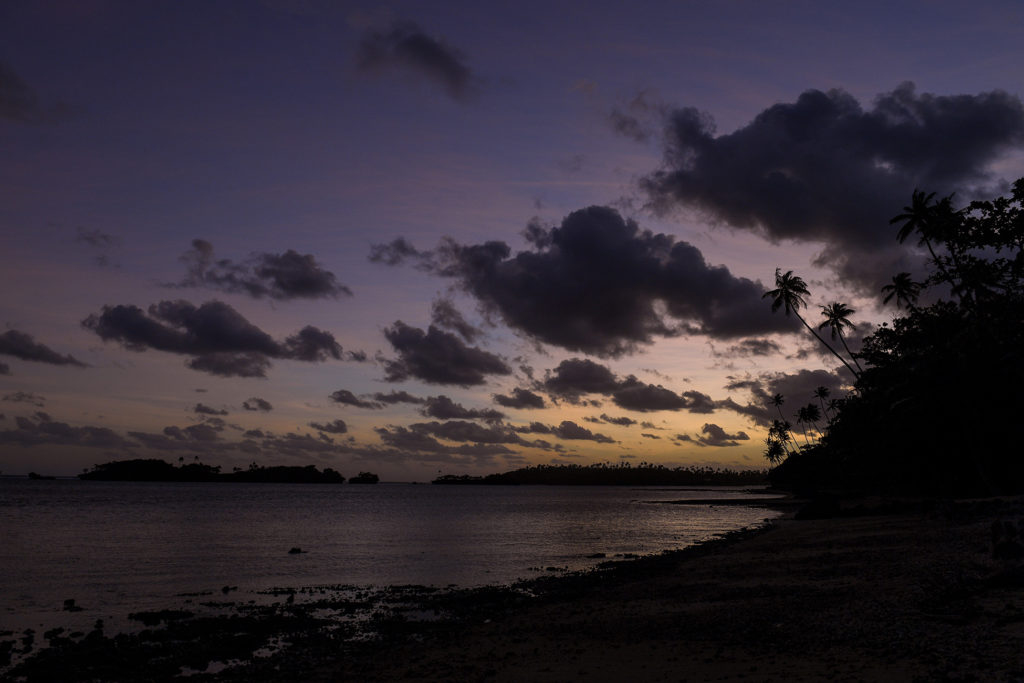 A breathtaking purple Fiji sunset