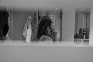 A monochrome reflection of the flower girl