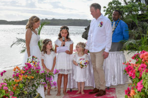 The flower girls read their vows to their parents at the Shangri La wedding