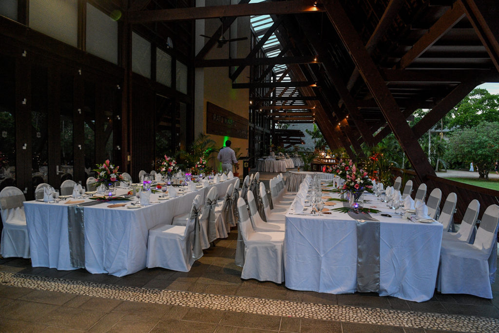 The elaborate wedding reception setup at Shangri La Fiji